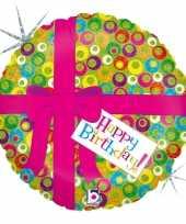 Folie ballon gefeliciteerd happy birthday roze strik 46 cm met helium gevuld trend