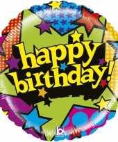 Folie ballon gefeliciteerd happy birthday sterren 53 cm met helium gevuld trend