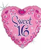 Folie ballon gefeliciteerd happy birthday sweet 16 16e verjaardag 46 cm met helium gevuld trend