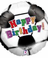 Folie ballon gefeliciteerd happy birthday voetbal 46 cm met helium gevuld trend