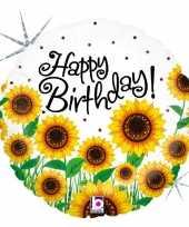 Folie ballon gefeliciteerd happy birthday zonnebloem 46 cm met helium gevuld trend