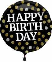 Folie ballon gefeliciteerd happy birthday zwart met stippen 45 cm met helium gevuld trend