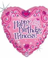 Folie ballon gefeliciteerd prinses happy birthday princess 46 cm met helium gevuld trend