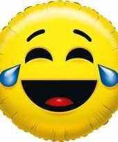 Folie ballon huilen van het lachen smiley 45 cm trend
