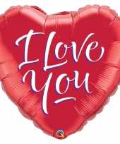 Folie ballon i love you hart rood 46 cm met helium gevuld trend
