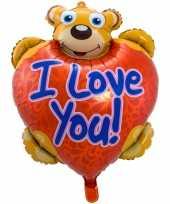 Folie ballon i love you teddybeer 80 cm met helium gevuld trend