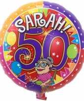 Folie ballon sarah 50 jaar verjaardag 43 cm met helium gevuld trend