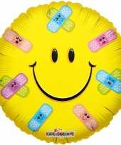 Folie ballon smiley met pleisters 45 cm trend