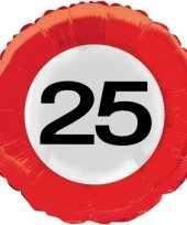 Folie ballonnen 25 jaar verkeersbord trend