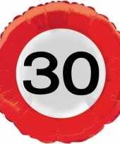 Folie ballonnen 30 jaar verkeersbord trend