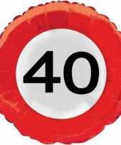 Folie ballonnen 40 jaar verkeersbord trend