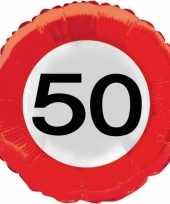 Folie ballonnen 50 jaar verkeersbord trend