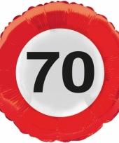 Folie ballonnen 70 jaar verkeersbord trend