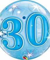 Folie helium ballon 30 jaar blauw 55 cm trend