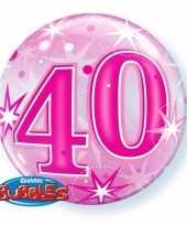 Folie helium ballon 40 jaar roze 55 cm trend