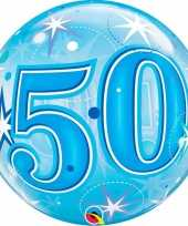 Folie helium ballon 50 jaar blauw 55 cm trend