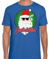 Fout kerst-shirt just chillin blauw voor heren trend