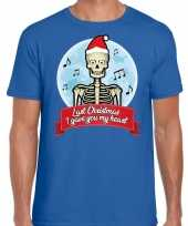 Fout kerst-shirt last christmas i gave you my heart blauw heren trend