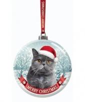 Fout kerstkado dieren kerstbal 7 cm kat poes grijs trend