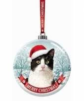 Fout kerstkado dieren kerstbal 7 cm kat poes zwart wit trend