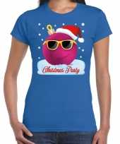 Fout t-shirt christmas party blauw voor dames trend
