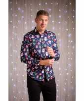 Foute heren overhemden met kerstfiguren blauw trend