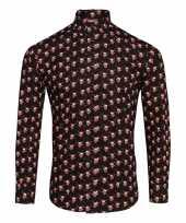 Foute heren overhemden met rendierfiguren zwart trend