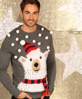 Foute ijsbeer print truien grijs trend
