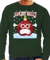 Foute kerst sweater trui angry balls groen heren trend