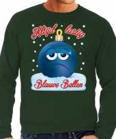 Foute kerst sweater trui blauwe ballen blue balls groen heren trend