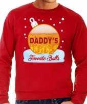 Foute kerst sweater trui daddy favorite balls bier rood heren trend