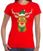 Foute kerst t-shirt rendier rudolf groene kerstmuts rood dames trend