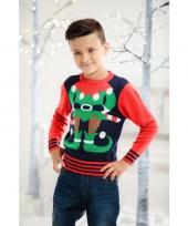 Foute kerst trui rood blauw voor kinderen trend