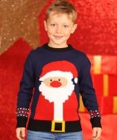 Foute kerstman print trui blauw voor kinderen trend
