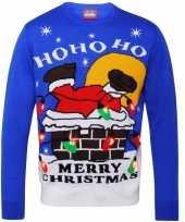 Foute kerstprint trui blauw met kerstman trend