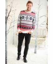 Foute kerstprint trui rood wit en blauw trend