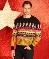 Foute kerstprint truien met koekemannetjes trend
