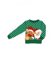 Foute print kids trui met kerstman en rendier trend