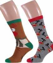 Foute rendier kerstsokken 2 pak voor heren trend