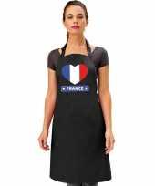Frankrijk hart vlag barbecueschort keukenschort zwart trend