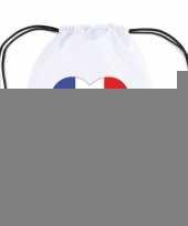 Frankrijk hart vlag nylon rugzak wit trend