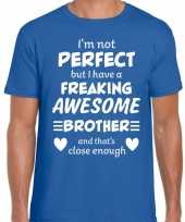 Freaking awesome brother broer cadeau t-shirt blauw heren trend