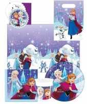 Frozen blauw paars kinderfeest tafeldecoratie pakket 6 personen trend