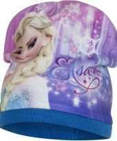 Frozen fleece muts elsa blauw voor meisjes trend