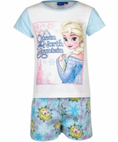 Frozen korte pyjama meisjes blauw wit trend
