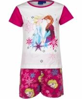 Frozen korte pyjama meisjes roze wit trend