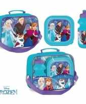 Frozen lunchbox set blauwe bidon broodtrommel tas trend