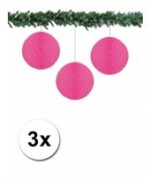 Fuchsia kerstversiering ballen van papier 10 cm 3 stuks trend