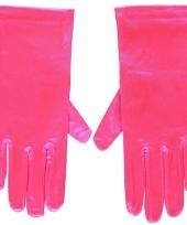 Fuchsia roze gala handschoenen kort van satijn 20 cm trend