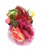 Fuchsia roze haarbloemen met clipspeld trend